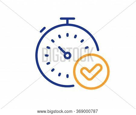 Fast Verification Line Icon. Approved Timer Sign. Confirmed Time Symbol. Colorful Thin Line Outline