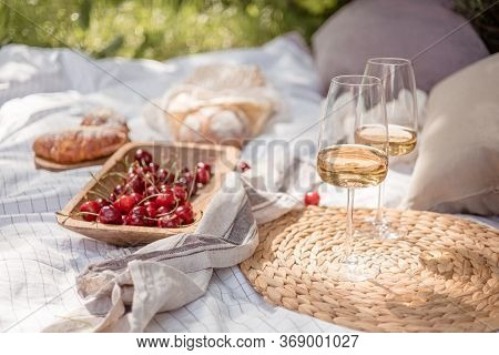Aestheticaesthetic Picnic Outdoors With Wine Glasses Bread Berries And Flowers. Rustic Picnic With N