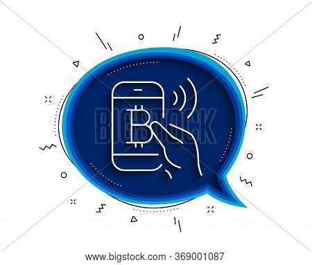 Bitcoin Mobile Pay Line Icon. Chat Bubble With Shadow. Cryptocurrency Sign. Crypto Money Symbol. Thi