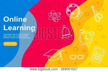 Landing Page Template Of Online Education. Modern Flat Design Concept Of Web Page Design For Website