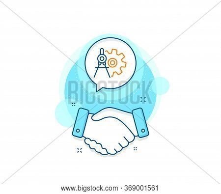 Engineering Tool Sign. Handshake Deal Complex Icon. Cogwheel Dividers Line Icon. Cog Gear Symbol. Ag