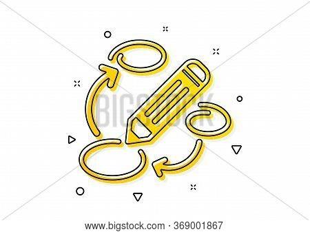 Pencil Symbol. Keywords Icon. Marketing Strategy Sign. Yellow Circles Pattern. Classic Keywords Icon