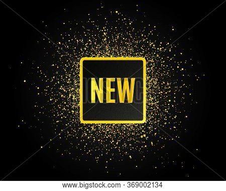 New Symbol. Golden Glitter Pattern. Special Offer Sign. New Arrival. Black Banner With Golden Sparkl