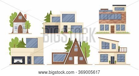 Vector Set Of Cute Houses In Cartoon Flat Style Isolated. Illustration Of Residential Eco-buildings,