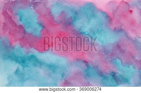 Abstract Bright Painting Pink And Turquoise Blue Cloudscape Wet Watercolor Background, Wash Techniqu