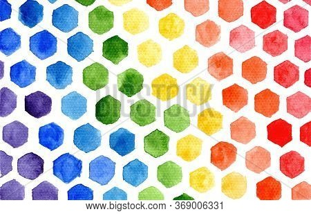Bright Horizontal Rainbow Colors Watercolor Small Hexagons Mosaic Composition On White Background. A