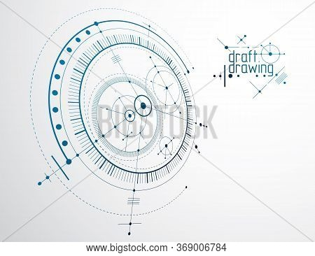 Mechanical Engineering Technology Vector Abstract Background, Cybernetic Abstraction With Innovative