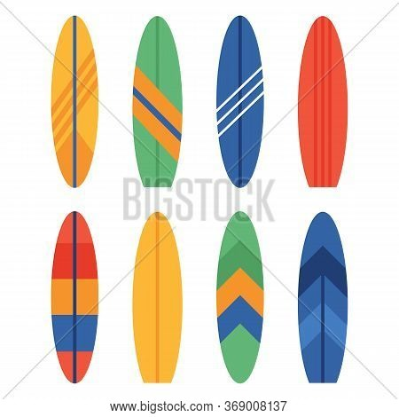 Set Of Different Colourful Surfboards. Summer Surfing. Vector Illustration