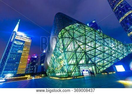 Guangzhou, China - May, 2019: Guangzhou Opera House Night Landscape. Designed By Famous Architect Za