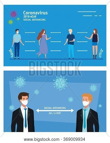 Business Men Using Face Mask And Social Distancing For Covid19 Vector Illustration Design