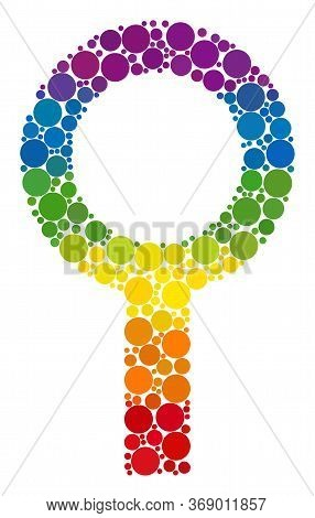 Barren Gender Symbol Mosaic Icon Of Circle Spots In Various Sizes And Spectrum Color Tones. A Dotted