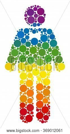 Groom Composition Icon Of Round Dots In Various Sizes And Rainbow Colored Color Hues. A Dotted Lgbt-