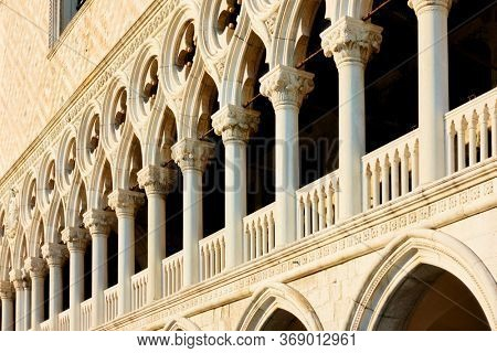Perspective of columns of The Doges Palace in Venice, Italy.