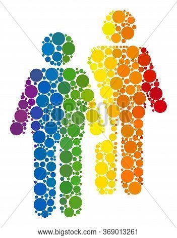 Gay Persons Couple Collage Icon Of Round Dots In Different Sizes And Spectrum Colored Color Tints. A