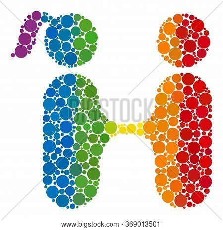 Lovers Meeting Composition Icon Of Circle Elements In Various Sizes And Rainbow Colored Color Tones.