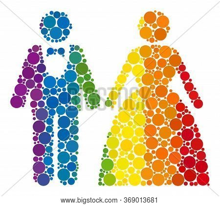 Groom With Bride Composition Icon Of Round Dots In Variable Sizes And Spectrum Colorful Shades. A Do