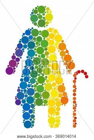 Grandmother Composition Icon Of Spheric Dots In Different Sizes And Rainbow Colored Shades. A Dotted