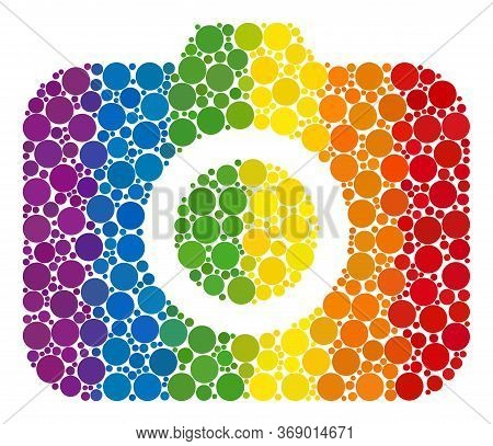 Photocamera Composition Icon Of Round Dots In Variable Sizes And Rainbow Colored Shades. A Dotted Lg