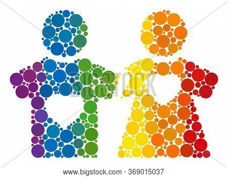 Lovers Persons Mosaic Icon Of Circle Elements In Variable Sizes And Rainbow Multicolored Color Hues.