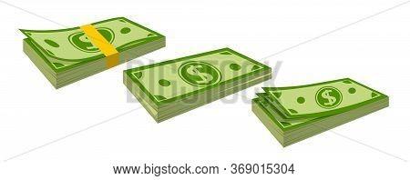 Packing Money Banknotes Flat Cartoon Set. Neat Cash Heaps, Bundles Bank Notes. Green Dollar In Vario