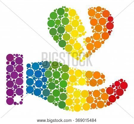 Break Heart Offer Composition Icon Of Filled Circles In Different Sizes And Spectrum Colored Color T