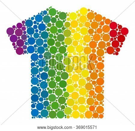 Male T-shirt Collage Icon Of Round Dots In Different Sizes And Rainbow Colored Color Hues. A Dotted