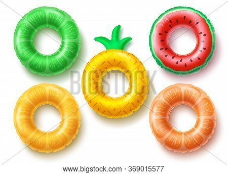 Summer Swim Rings Fruit Set Vector Design. Inflatable Rubber Toy And Swimming Circles With Different