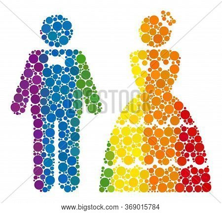 Wedding Pair Collage Icon Of Round Dots In Different Sizes And Rainbow Colored Color Tinges. A Dotte