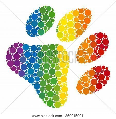 Paw Footprint Composition Icon Of Round Items In Variable Sizes And Rainbow Colored Color Tints. A D