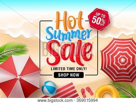 Summer Sale Vector Banner Background. Summer Sale Discount Text In Empty Space With Beach Elements L