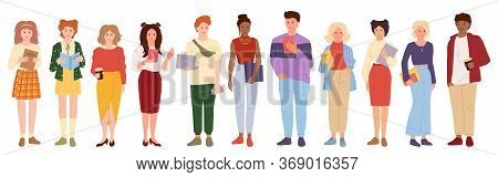 Young People Student Set . Flat Cartoon Style. Group Man Womans Casual Clothes Laptop, Smartphone. D