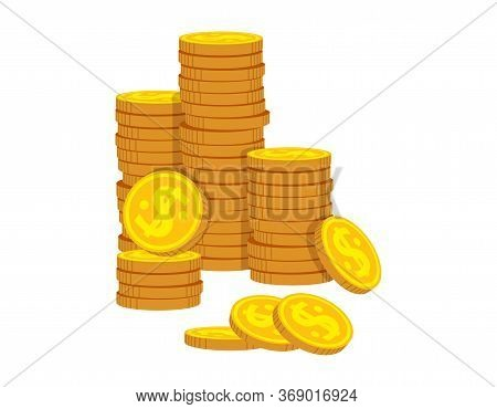 Neat Stacks Of Gold Coins Flat Cartoon. Golden Coin Pile Heap, Bank Currency Shining Sign. Stacks Mo