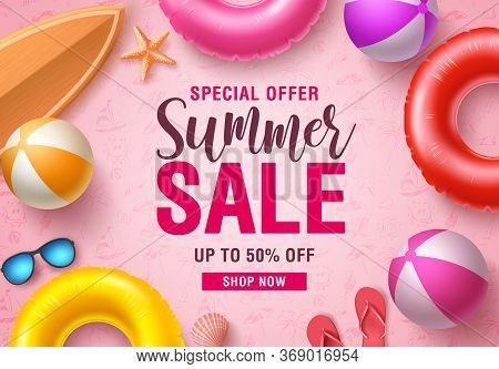 Summer Sale Vector Banner Design. Summer Sale Promotional Discount Text With Summer Beach Elements L