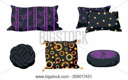 Black Pillow Flat Cartoon Set. Pillows Square, Knot With Tassels, Pillow Pouffe Mockup Template. Fea