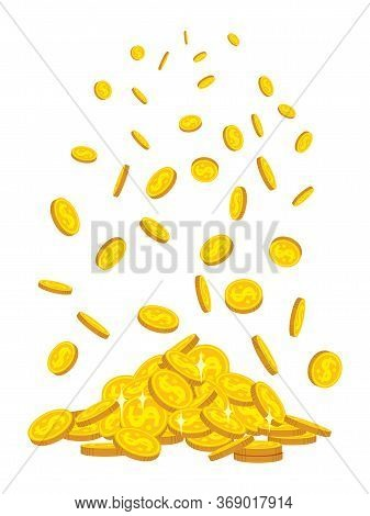 Mountain Of Gold Coins Fall, Flat Cartoon Style. Golden Coins Pile Heap. Bank Currency Shining Sign