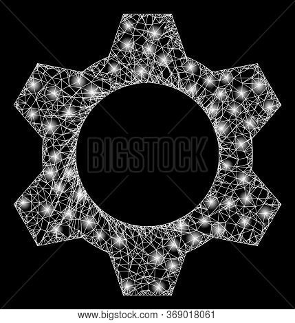 Shiny Web Net Cog With Glowing Spots. Illuminated Vector 2d Model Created From Cog Icon. Sparkle Car