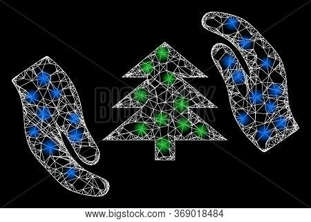 Glowing Web Mesh Fir Tree Care Hands With Glowing Spots. Illuminated Vector 2d Constellation Created