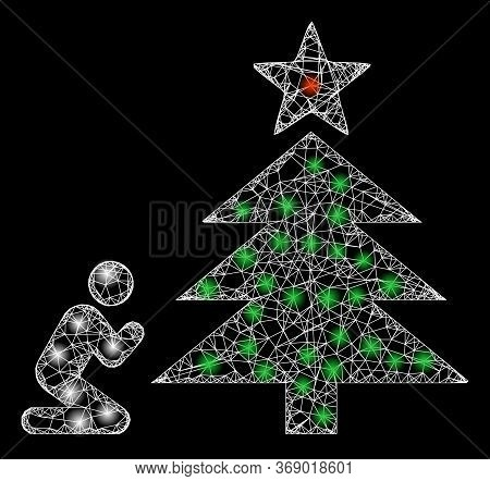 Glowing Web Mesh Pray To Christmas Tree With Light Spots. Illuminated Vector 2d Constellation Create