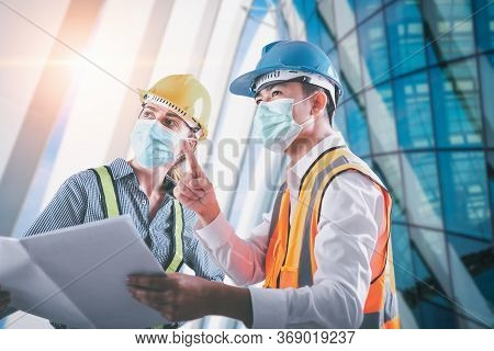 Construction Engineer/ Architect Builder Teamwork Inspection Civil Work At Construction Site, Engine
