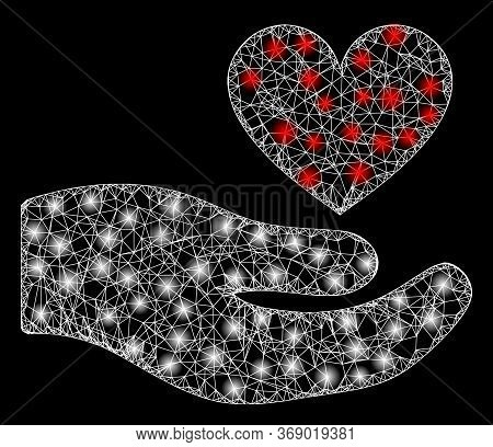 Bright Web Network Palm Offer Love Heart With Glowing Spots. Illuminated Vector 2d Constellation Cre