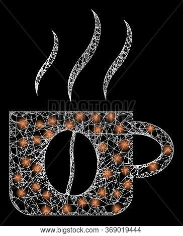 Shiny Web Mesh Hot Coffee Cup With Lightspots. Illuminated Vector 2d Model Created From Hot Coffee C