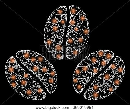 Glare Web Mesh Cacao Beans With Glowing Spots. Illuminated Vector 2d Constellation Created From Caca