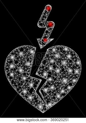 Glowing Web Net Break Heart With Lightspots. Illuminated Vector 2d Constellation Created From Break