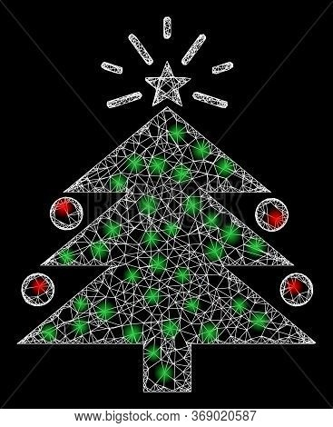 Shiny Web Network Christmas Fir Tree With Light Spots. Illuminated Vector 2d Constellation Created F