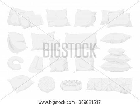 White Pillow Big Set, Flat Cartoon Style. Interior Textile. Pillows For Sofa, Bed, Sleep Mockup Temp