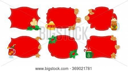 Christmas Label And Tag Red Flat Set. New Year Tags Decorated Objects, Holly Mistletoe, Candy Cookie