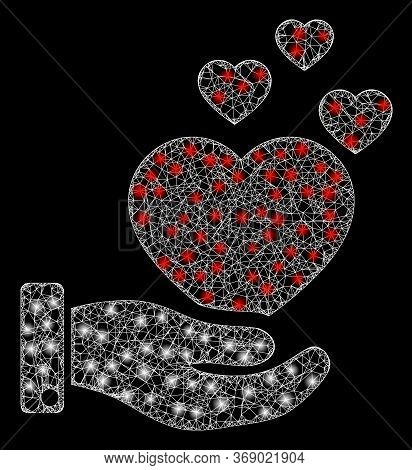 Shiny Web Mesh Hand Offer Love Hearts With Light Spots. Illuminated Vector 2d Model Created From Han