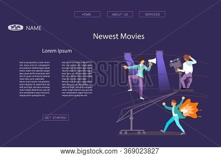 Landing Web Page Template With Filming Process Composition With Running Stunt Performer. Detective A