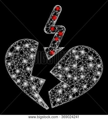 Glare Web Net Breakup Heart With Lightspots. Illuminated Vector 2d Constellation Created From Breaku