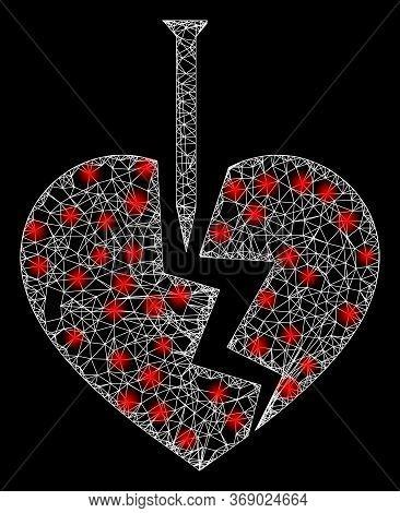 Glowing Web Mesh Break Valentine Heart With Lightspots. Illuminated Vector 2d Constellation Created